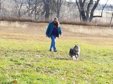 Lisa walks Pepper
